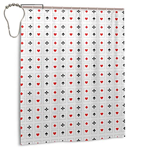 Nasuyes Playing Cards Bathroom Shower Curtain Shower Printing Curtains Durable Polyester Bath Curtain Waterproof Bathroom Curtain with 7-12 Hooks 60x72 in,Iron,One Size