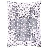 132 Baby's Bedding Set Lounger Cum Mattress with Pillows (0-18 Months, Grey)