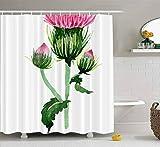 Duschvorhang, klarer Duschvorhang, niedlicher Duschvorhang Aquarell Rosa Lila Distel Wildblume Blumen Botanisches Badezimmer Set mit Haken Bad Duschvorhang Kleiner Duschvorhang