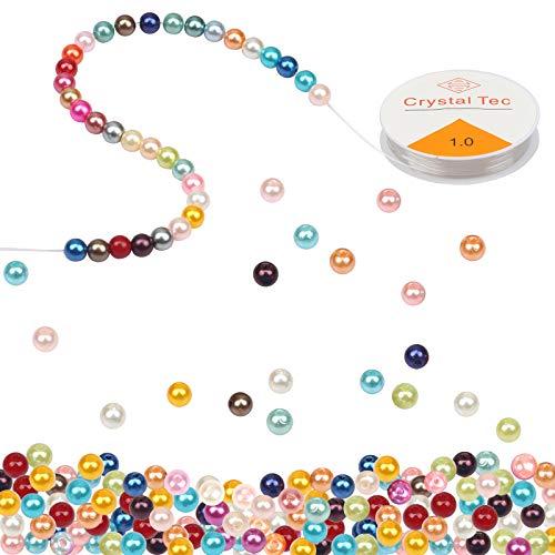 Perlas de perlas multicolores a granel CINVEED 1300 piezas de perlas de colores de imitación de perlas de cristal para hacer joyas, manualidades, pulseras, collares, pendientes de punto (18 colores)