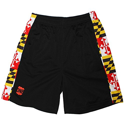 Route One Apparel Maryland Flag/Running Shorts (Men) (XL) Black