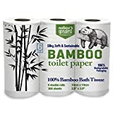 Nature's Greatest, 100% Bamboo & Sugarcane Toilet Paper, 2 Ply, 300 Sheets, 6 Rolls, Packaging May Vary
