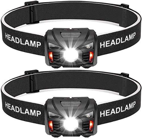BINWO - Lampada frontale a LED ricaricabile tramite USB, molto luminosa, con sensore, impermeabile, mini torcia frontale perfetta per corsa, jogging, pesca, campeggio