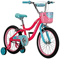 This Schwinn Elm girl's bike with 18-inch wheels is designed for children 3 - 7 years old or 42 - 52 inches tall. The Elm is perfect for riding to the park or riding on the sidewalk around the neighborhood With Schwinn's SmartStart Technology, this b...