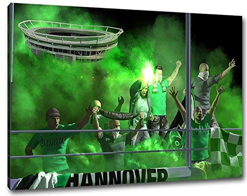Ultras Hannover Format: 60x40, Bild auf Leinwand XL, fertig gerahmt