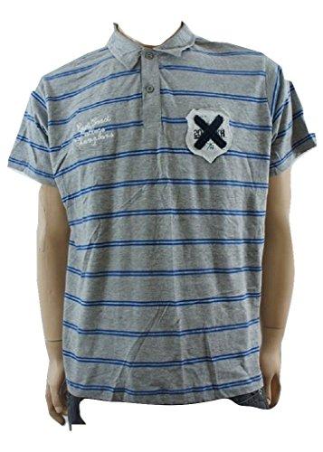 M&P Fashion - Polo - Homme Bleu Grey / Blue Striped - Bleu - X-Large