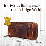 Corno d´Oro Großer Leder Kulturbeutel Damen & Herren I Männer Kulturtasche für Handgepäck & Koffer I Frauen XL Kosmetiktasche braun CD500 - 2
