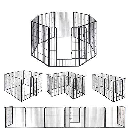 FEANDREA ペットサークル 中大型犬用 犬ケージ 全成長期使用可 室内外兼用 カタチ変更可 ペットフェンス パネル8枚 折り畳み式 組立簡単 PPK81H 高さ100cm