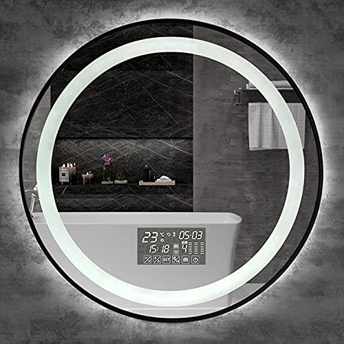 LZQHGJ YAWEN Redondo Iluminado DIRIGIÓ Espejo de baño   Espejo de Maquillaje de tocador montado en la Pared con Marco de Metal   Anti-Niebla + Tiempo/Temperatura + Bluetooth Backlit Mirror
