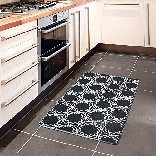 AGELMAT Kitchen Mat, Anti Fatigue rug17×30' Comfort Floor Cushioned Mat Anti-Slip Kitchen Rugs and Mats Waterproof Proof Memory Foam Ergonomic Throw Carpet for Standing Kitchen Office Laundry Black