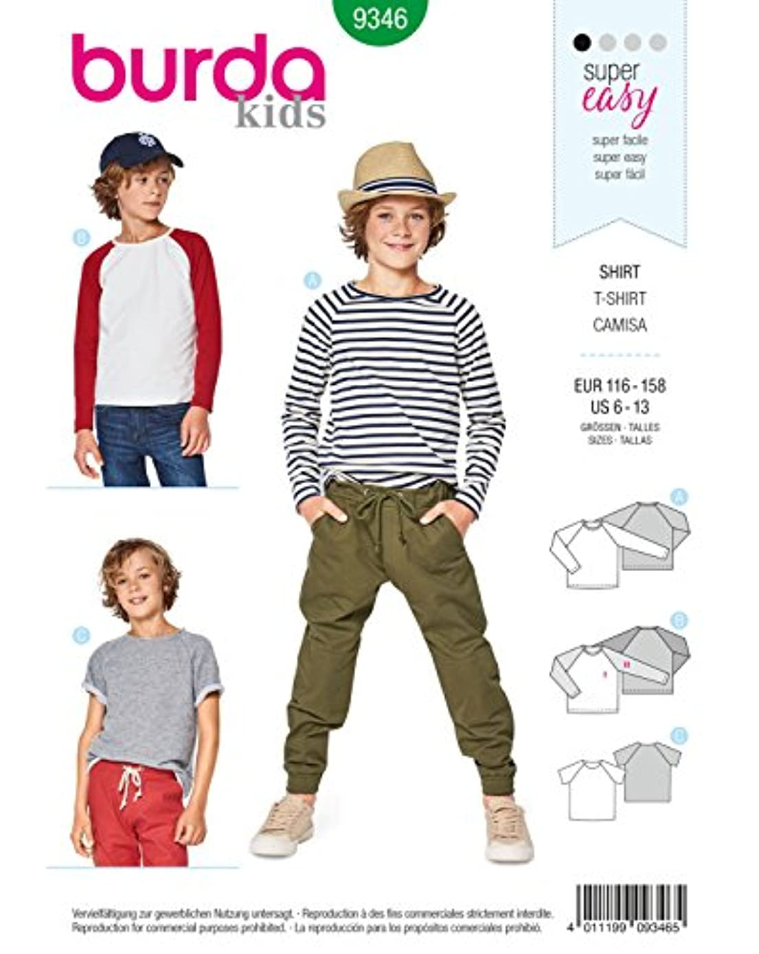 Burda Style Sewing Pattern B9346 - Child's Raglan Tops, A(6-7-8-9-10-11-12-13)