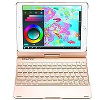 【PCATEC】 iPad Air3 /pro10.5 用キーボードケース 360度回転機能 7色LEDバックライト キーボードカバーワイヤレスbluetoothキーボード リチウムバッテリー内蔵 人気 かっこいい アルミ合金製 対応機種 iPad Pro10.5:A1701:A1709 AIR3 用iPad Air (第 3 世代):A2152、A2123、A2153 ☆ (ゴールド)