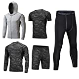 Dooxii Homme 5 Pièces Vêtements de Sport avec Hoodies Vestes Manches Courtes Manches Longues Shirt Compression Collant Short Séchage Rapide Workout Ensemble de Fitness Tenuede Sportswear XL