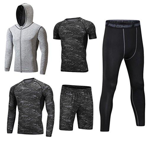 DOOXI Herren 5 Stücke Sport Anzug Schnell Trocken Joggen Kleidung Strumpfhosen Laufanzüge Kompression Shirt Gym Training Lauf Trainingsanzüge XL