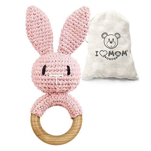 ARTESTAR Sonaglio per bambini, in legno, giocattolo per la nascita (coniglietto rosa)