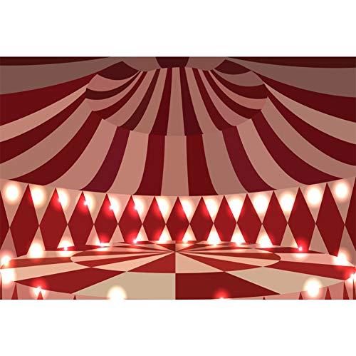 Cassisy 3x2m Vinilo Circo Telon de Fond Decoración de Interiores Espectáculo de Carpas de Circo Escenario de Las Rayas Coloridas Fondos para Fotografia Party Infantil Photo Studio Props Photo Booth