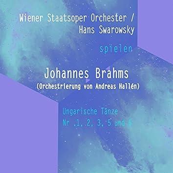 Wiener Staatsoper Orchester / Hans Swarowsky spielen: Johannes Brahms (Orchestrierung von Andreas Hallén): Ungarische Tänze Nr .1, 2, 3, 5 und 6 [Live]