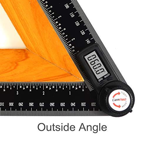 GemRed Digital Angle Finder Protractor (Aluminum, 200mm)