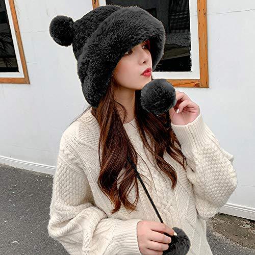 ZKRZ Russische Mmütze Frauen Winter Hüte Nette Ohr Fleece Pelz Ohrklappen Kappen Solid Plain Frauen Ski Mützen Weibliche Russische Hüte Damen Trapper Hüte, Schwarz
