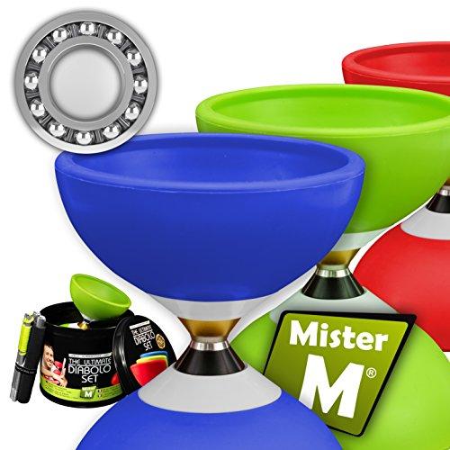 Mister M ✓ Das Ultimative Kugellager Diabolo Set ✓ Kugellager Diabolo ✓ Alu Stöcke ✓ Online Lern-Video ✓ Geschenkbox (Blau)