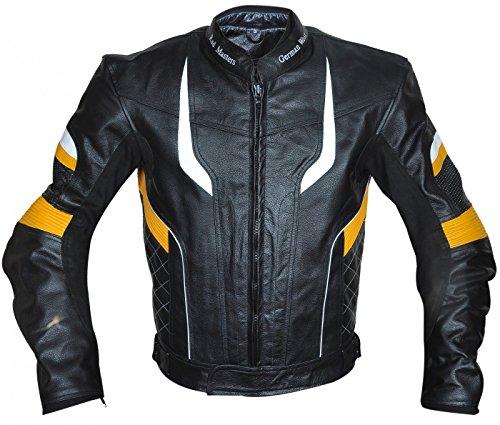 German Wear Motorradjacke Lederjacke Chopperjacke Cruiser jacke Kombijacke Rindsleder, 62/5XL, Gelb