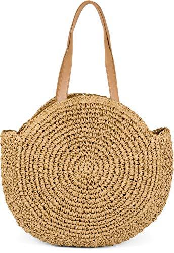 styleBREAKER runde Korbflecht Schultertasche, Strandtasche mit Langen Henkeln, Flechttasche, Tasche geflochten, Shopper, Damen 02012232, Farbe:Braun