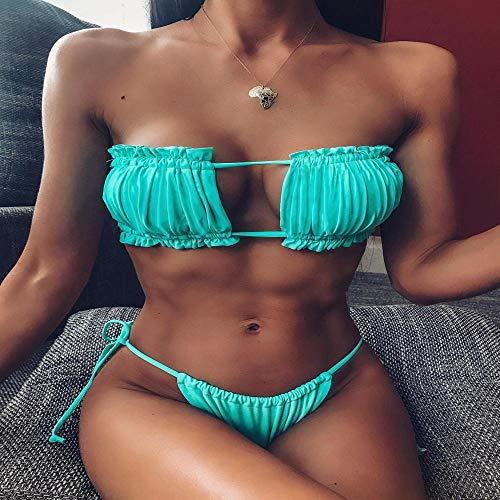 Bikini Rüschenbesatz Bikini Bandeau Tie Side Bikini Set Sexy Solid Badeanzug Bandage Brazilian Beachwear Gepolstert L Bikini9