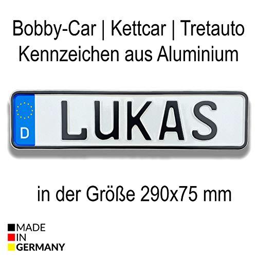 Bobbycar Kettcar Tretauto Namensschild Kennzeichen nach ihrem Wunsch geprägt reflektierend Top Geburtstags-Geschenk (EU Variante)