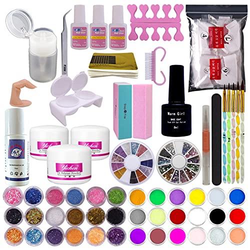 Warm Girl Acryl Nail Kit Acryl Poeders 3 Kleuren Acryl Vloeistof 36 stks Glitter Poeder UV Primer Nail Art Tip Nail Poeder kit voor Nail Extension