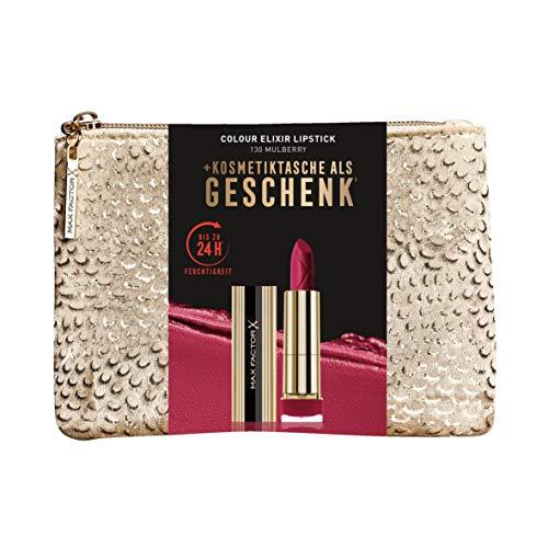 Max Factor Hochwertiges Weihnachtssets mit pflegendem Lippenstift Colour Elixir Mulberry und exklusiver gratis Pouch, 2er Pack(2 x 100 g)