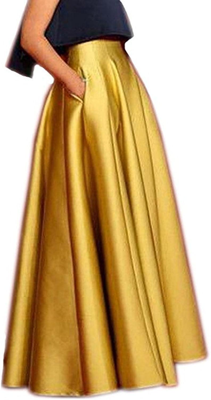 Ai Maria Women's Satin Long Floor Length High Waist Prom Party Skirts
