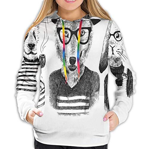 Women's Hoodies Tops,Hipster Panda Bear Cigar Fox And Rabbit Glasses in Human Clothes Illustration,Lady Fashion Casual Sweatshirt,L