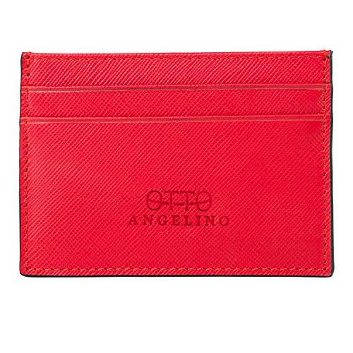 Otto Angelino Dünn Echtes Leder Kartenhalter Brieftasche für Männer - Mehrere Schlitze für Kredit, Lastschrift, Bank und Business-Karten, Geld und Führerschein - RFID Schutz (Einfach Rot)