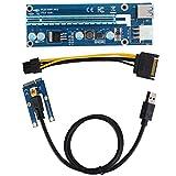 ミニPCI-E16xアダプター マイニング USB PCI-E Express アダプター カード PCI ExpressPCI-E ミニ PCI-EからPCI エクスプレス ミニPCI-E16xアダプター エクスプレス USBケーブルと SATA15Pin-6Pin電源ケーブル付き 固定が簡単