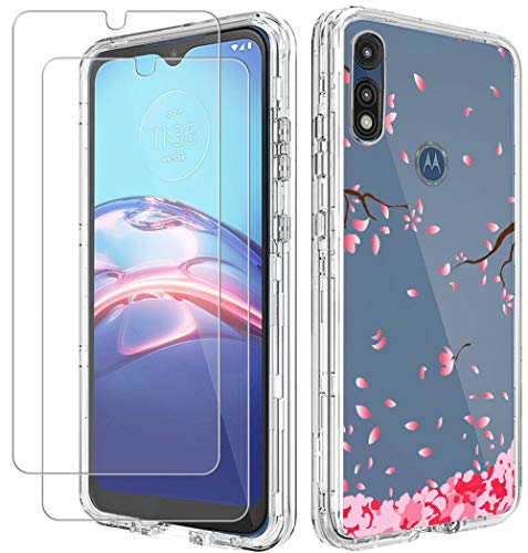 (3 in 1) for Moto E 2020 Case, Moto E7 Case, with Glass Screen Protector Girls Women Slim Clear Soft TPU Silicone Phone Case Cover with (Pink flower) Transparent for Motorola Moto E7 / Moto E 2020