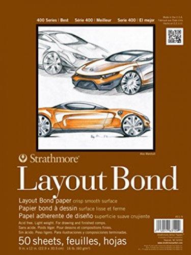 "Strathmore (411-9 400 Series Layout Bond Pad,White , 9""x12"", 50 Sheets"