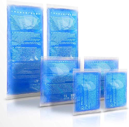 LACARI Kalt Warm Kompresse aus Gel | [6x] Kühlpads in 3 Größen | Kühlkompresse & Warmkompresse | Mehrfach-Kompressen für Erste Hilfe & Kinder | Klein und Groß Kühlakku | Gel-Kühlpack Kissen