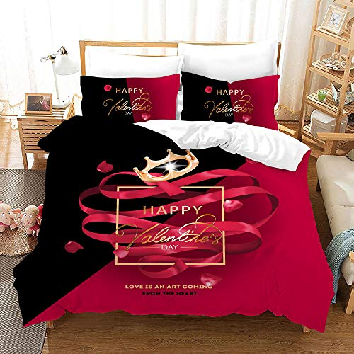 Duvet Cover Set -Black Red Crown Modern Style - 3 Pieces Printed Bedding Quilt Cover with Zipper Closure Students for Bedding Decor, Ultra Soft Microfiber Comes with 2 Pillowcases 94.5 X 86.7 inch