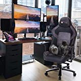 VON RACER Massage Gaming Chair - High Back Big and Tall Adjustable PC Racing Office Computer Desk Ergonomic Swivel Task Chair - Memory Foam Lumbar Cushion and Headrest, Gray/Black