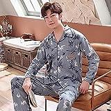 Conjunto de pijama de los hombres Otoño Invierno de los Hombres Pijamas de manga larga de los hombres Conjunto de pijama de...