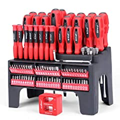 Standard and precision screwdrivers for tackling jobs of all sizes Double color injected handle for maximum torque Magnetized tips improve handling and manipulation of screws Durable plastic racking shelf for well organization Cushion grip handle for...