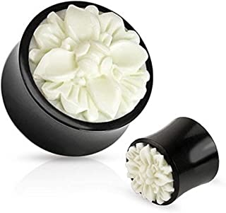 The Jewelry Archivist Flower Unique Organic Buffalo Horn Saddle Fit Plug with White/Ivory Hand Carved Bone Flower Inlay - 0G (8mm)