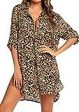 Davicher Cubre bikini mujer traje de baño camisa estampado leopardo camisa bluse cover up V vestido de playa playa playa pareo cubre túnica playa bikini Cover Up, LEOPARDO, M