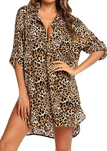 Cubre bikini de mujer con camisa de 3/4 de gasa, blusa con cobertura en V, vestido de playa, playa, pareo
