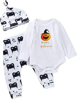 Minizone Baby Strampler 3pcs Set Halloween Outfit Jungen Mädchen Bodysuits  Hosen  Hut Langarm Overall Kostüm Kinder Geschenk 0-24 Monate Kürbis Fledermaus