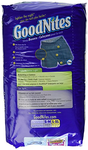 Goodnites Boxers Style Sleep Shorts for Boys, Size : Large to Extra Large, Jumbo Fits to 60 to 110 Lbs - 11 / Pack, 4 Packs