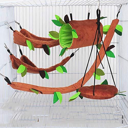 Dongbin Parrot Kletterleiter aus Holz Trainingsleiter Creative-Schaukel Spielzeug für Vogel Parrot Hamster Sugar Glider,Braun