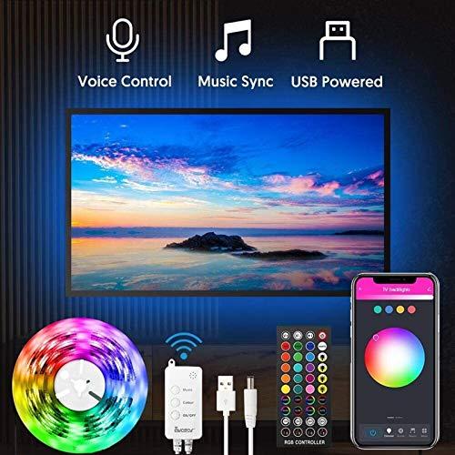 AMNVBD Retroiluminación LED de TV con aplicación controlada, 3M Bluetooth Chase TV LED Cinturón de luz, música y Escena, Luces LED de TV RGB con Puerto USB para la Sala de Estar de TV