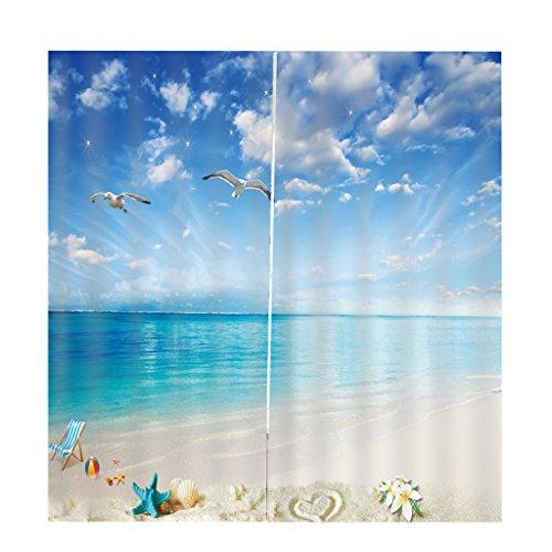 Homyl 2er-Set Vorhang Schal Verdunkelungsvorhang Blickdicht für Wohnzimmer Schlafzimmer, Auswahl - Meerblick