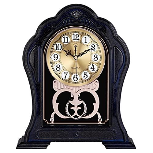KLHDGFD Estilo Europeo Retro Sala de Estar Reloj doméstico Imitación de Madera Maciza Reloj de Mesa Reloj de plástico Dormitorio Reloj de Mesa silencioso (Color : B, Size : One Size)